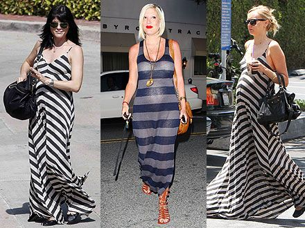 One trend, three ways.  Striped Maxi Dress for mamas-to-be