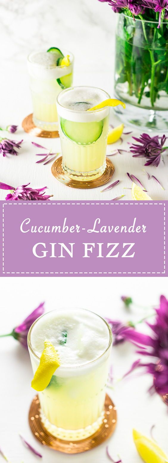Still embracing those patio nights? This cucumber lavender gin fizz is the perfect summer cocktail for these final days of the season.  #BurrataAndBubbles #FancyGinDrink #GinAndTonic #GinFizz #LavenderCocktail #CucumberCocktail #CucumberGinCocktail #LavenderGinCocktail #CocktailRecipes #bestgincocktails