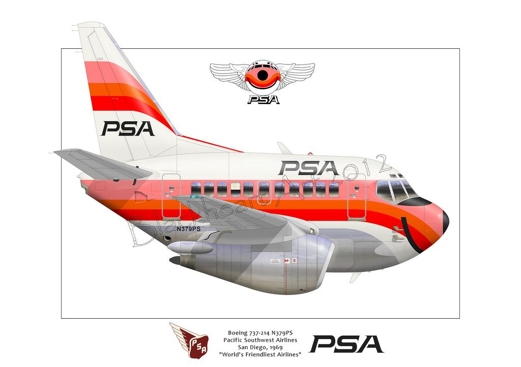 Here is a new caricature I just finished for a client. The Boeing 737-200. This bird flew for Pacific Southwest Airlines back in the late 60's. PSA was one of the first cheap fare airlines like SouthWest. Eventually PSA was bought up by US Air.