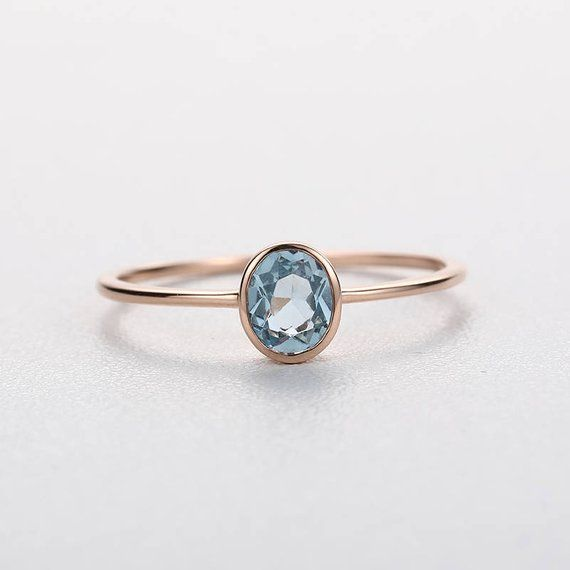 Rose Gold Engagement Ring Aquamarine Wedding Women Antique Minimalist Promise Oval Cut Simple Gemstone Birthstone Gift Anniversary For Her