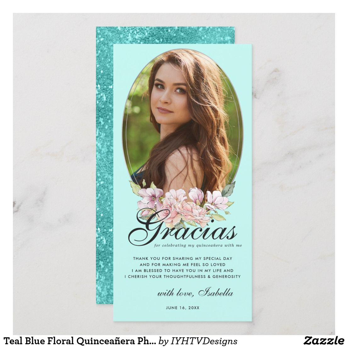 Teal Blue Floral Quinceañera Photo Thank You Card