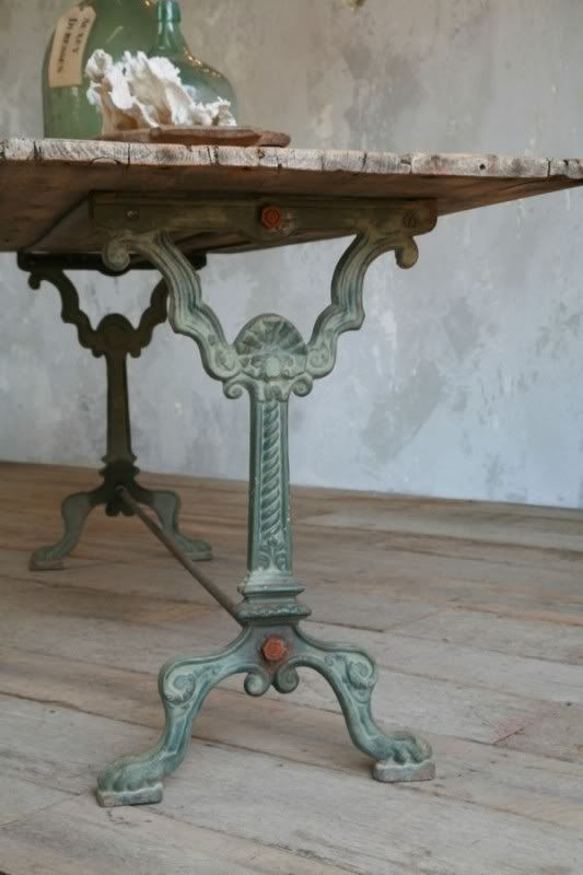 Antique Provence Cast Iron Wood Bistro Table French
