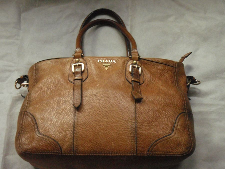 5ae7f45cb985 Prada brown leather handbag vintage large with handles