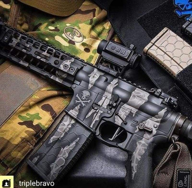 This is an image of Versatile Free Printable Camo Stencils for Guns