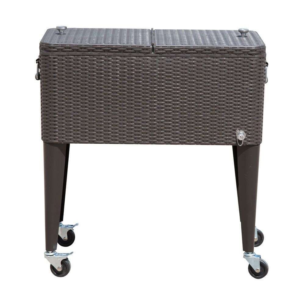 Outdoor Patio Wicker Rattan 80qt Rolling Cooler Cart Yard Ice Beverage  Portable