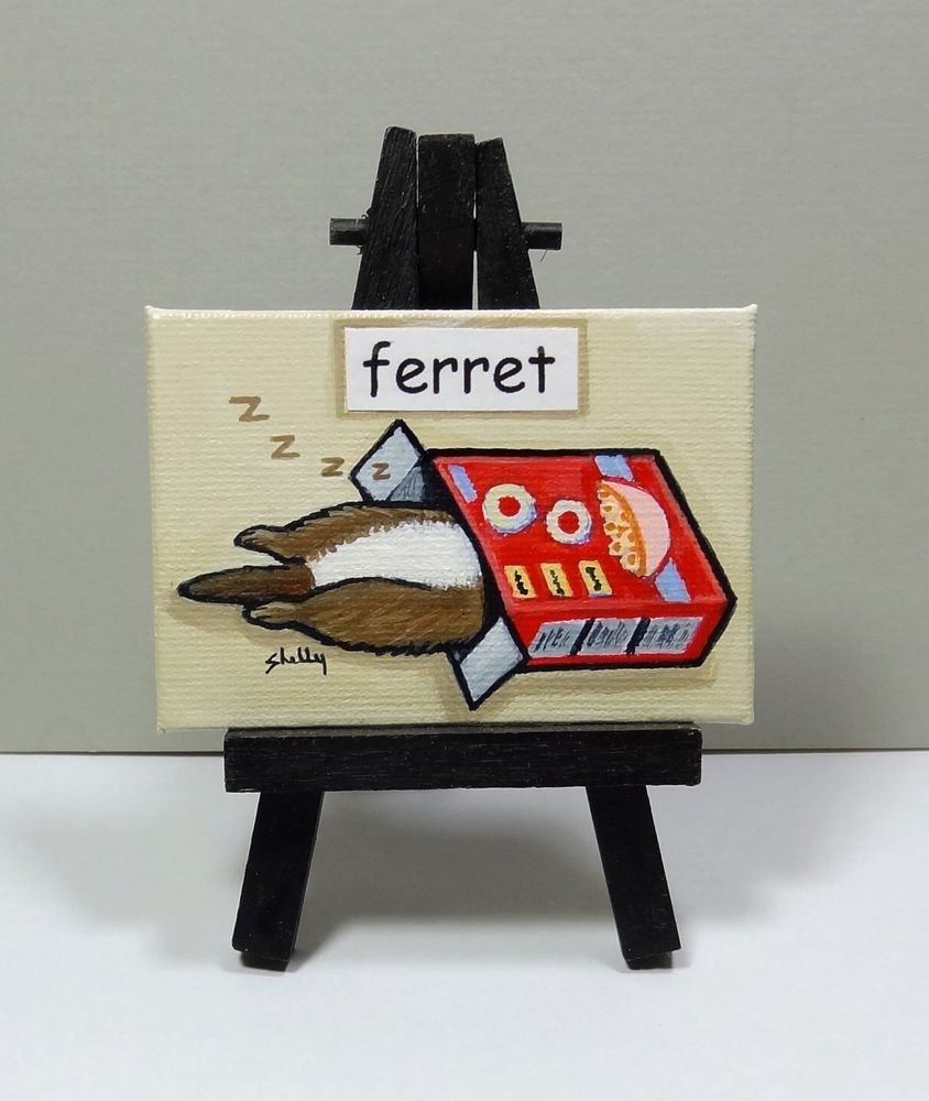 Shelly Mundel Art Original Mini Painting Series- Ferret's new nap spot- Folk Art #FerretArt