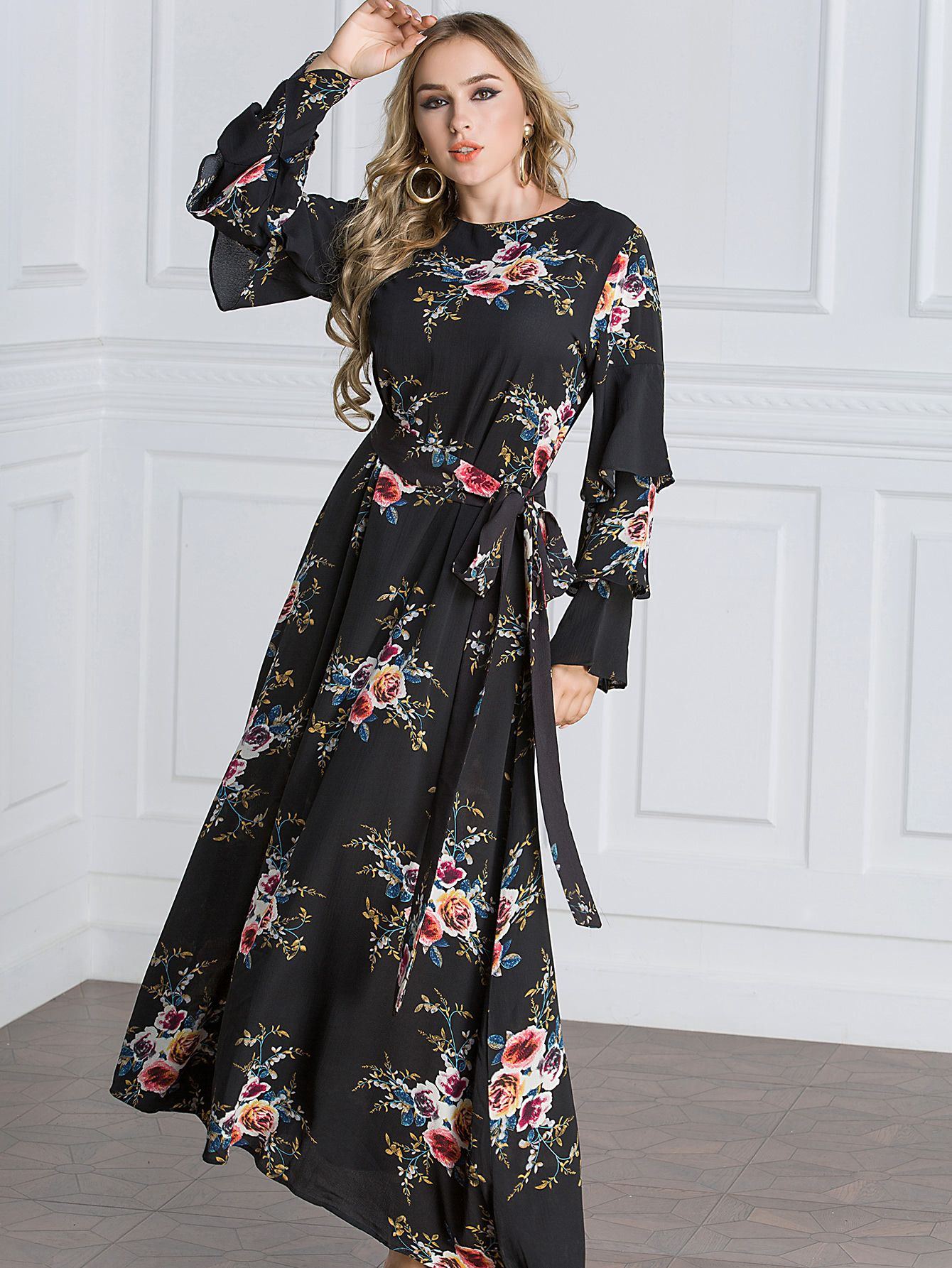 a722ccc0ee10 Shop Botanical Print Flounce Layered Sleeve Tie Waist Dress online. SheIn  offers Botanical Print Flounce Layered Sleeve Tie Waist Dress   more to fit  your ...