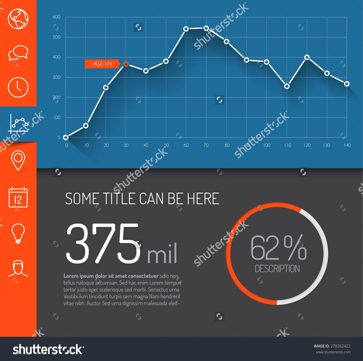 Dashboard. Dashboard Template With Graphs And Charts. Simple ...