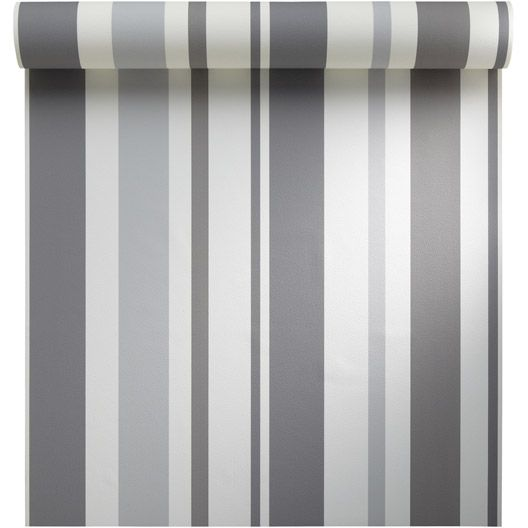 Papier peint vinyle sur intissé INSPIRE Rayure, gris galet n°3, larg - peindre sur papier vinyl