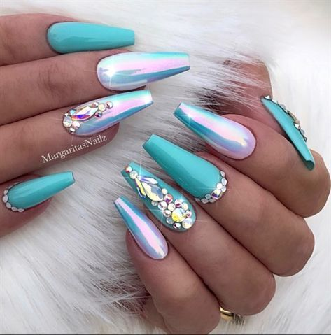 Photo of Turquoise + Chrome + Ombr% c3% a9 + Coffin + Nails ++ by + MargaritasNailz + – + Nail + Art + Gall …