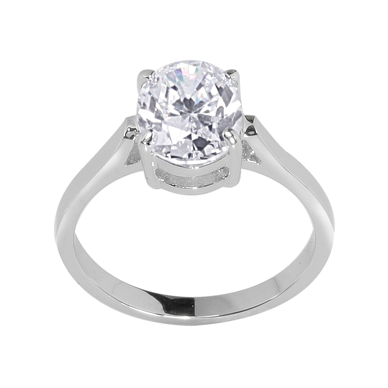 NEXTE Jewelry Silvertone Oval Cubic Zirconia Bridal