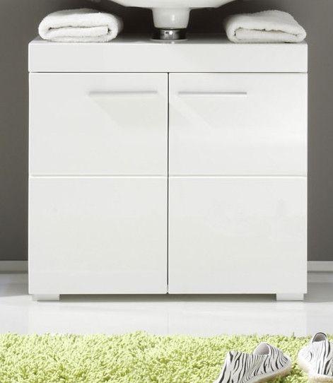 Waschbeckenunterschrank Weiß Hochglanz Woody 93-00796 Weiss Holz ...