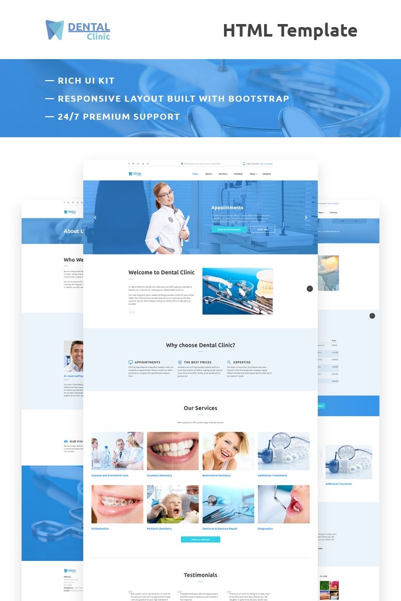 Dental Clinic Responsive Website Template Dental Dentist Website