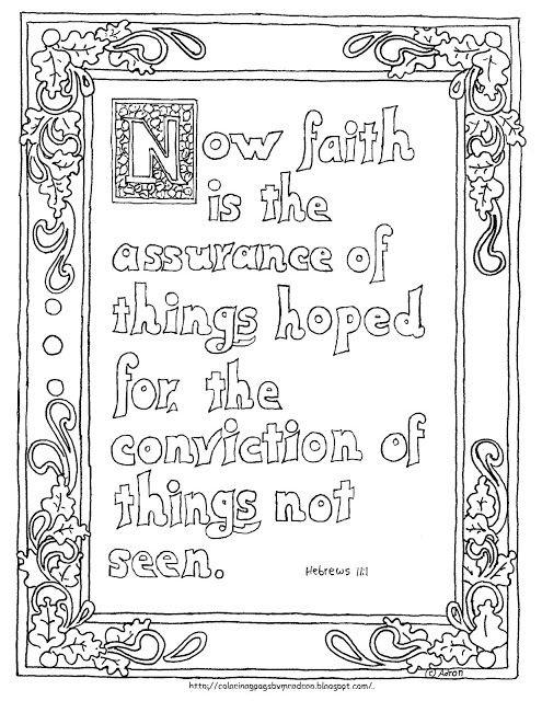 Printable Hebrews 11 1 Coloring Page Illuminated Bible Text