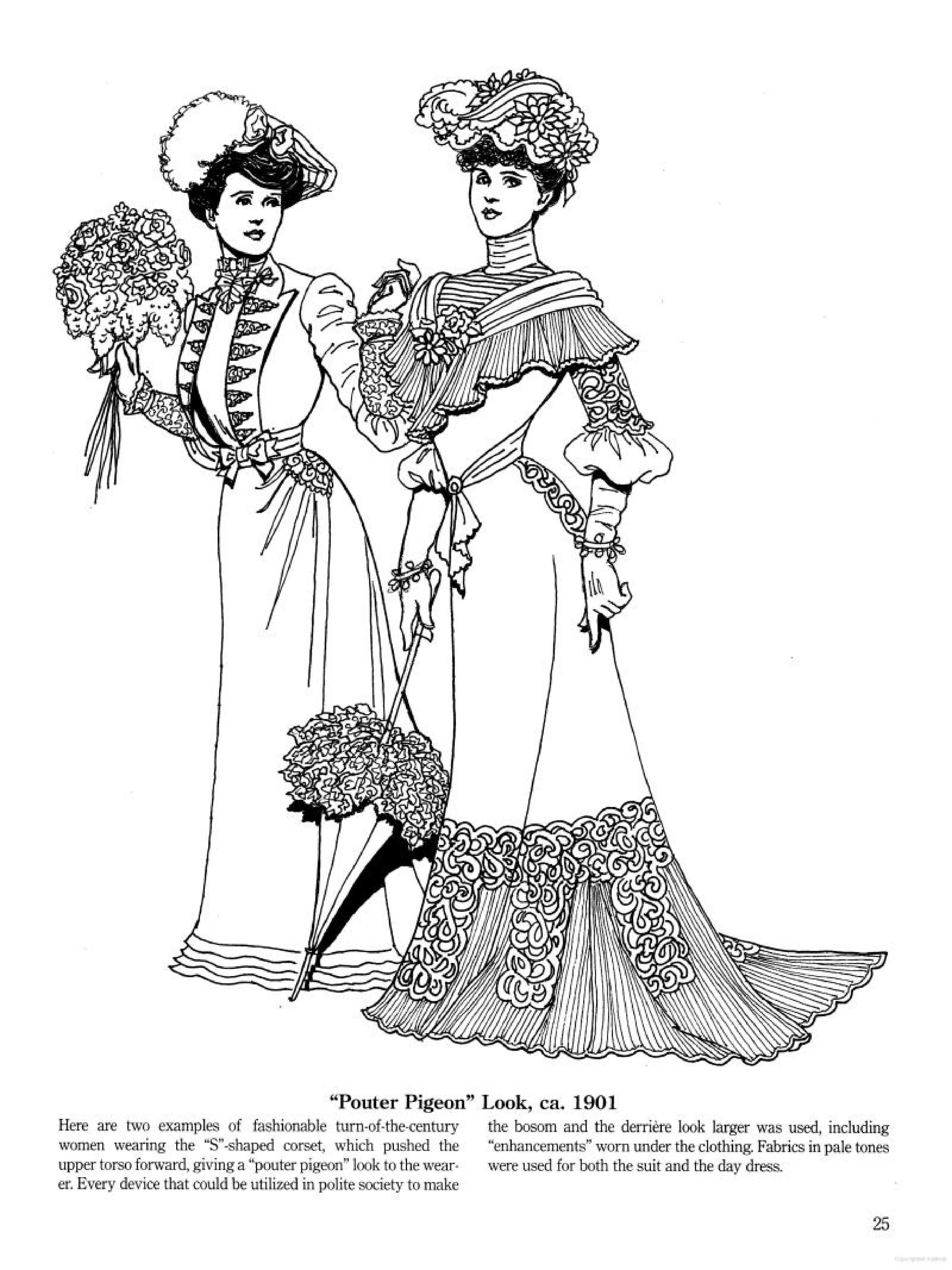 Late Victorian and Edwardian Fashions coloring page Adult Coloring, Coloring  Pages, Colouring, Hoop