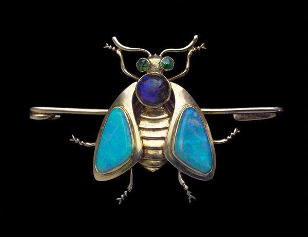 MURRLE BENNETT & Co 1896-1916  Jugendstil Insect Brooch. Gold Opal Demantoid Garnet  Marks: '15ct' & 'MBCo' for Murrle Bennett & Co  German, c.1902
