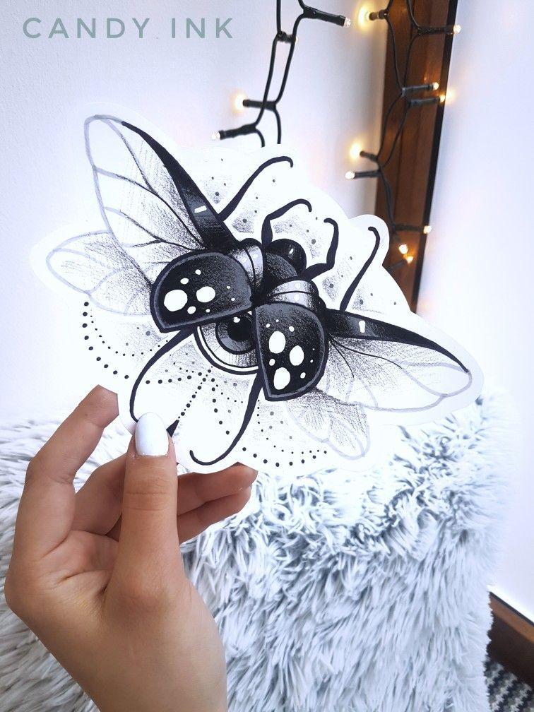 Neo Traditional Black Tattoo Design Bug Scarab Krutye Tatuirovki Tatuirovki Zhuki