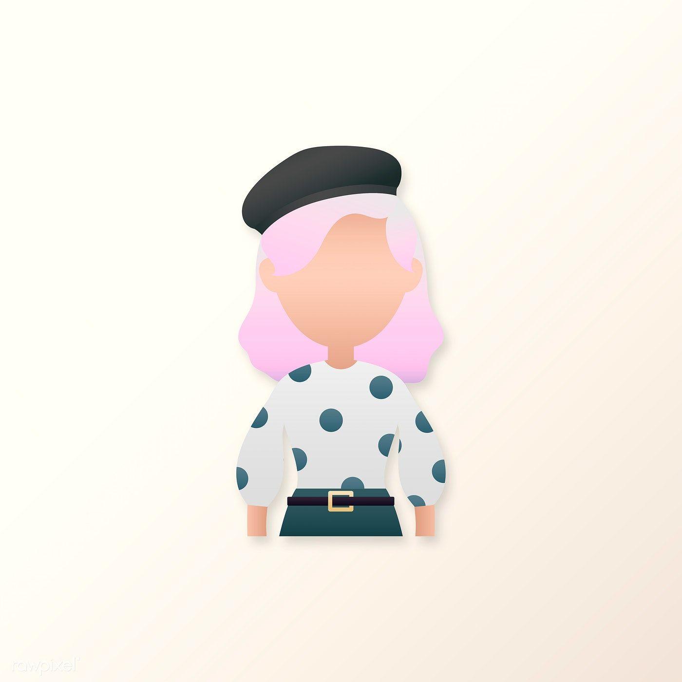 Download premium vector of Woman in polka dot dress avatar vector 2024269