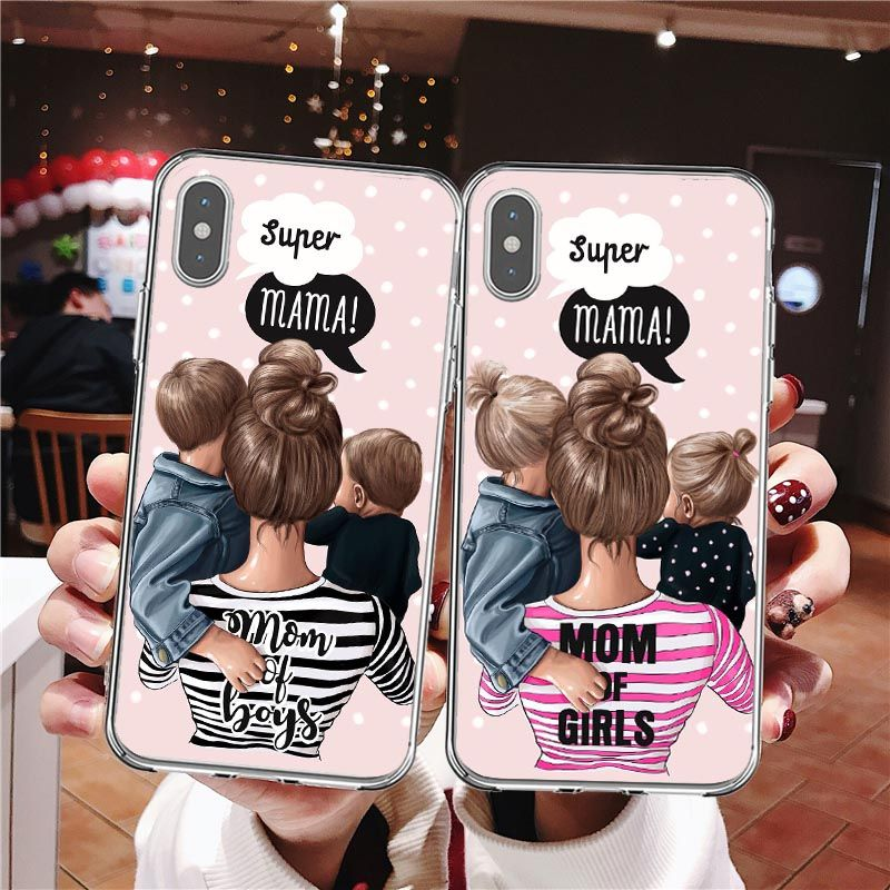 VOGUE Female boss coffee Super daddy Black Brown Hair Baby Mom Soft Phone Cases For iPhone SE 5s 6S 7 8 Plus X XR XS MAX