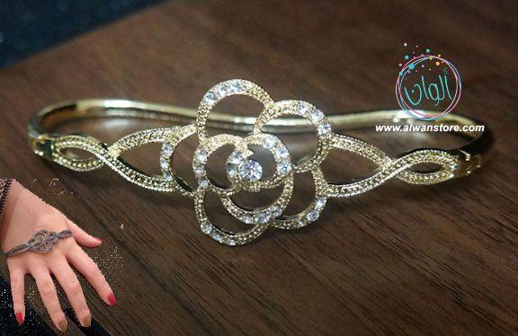 اسوارة المشاهير الوردة لون ذهبي مع فصوص لامعة المجوهرات المتميزة والراقية اسوارة الكف تلبس في منتصف الكف وهي تقليد لاسوا Ring Bracelet Silver Bracelet Jewelry
