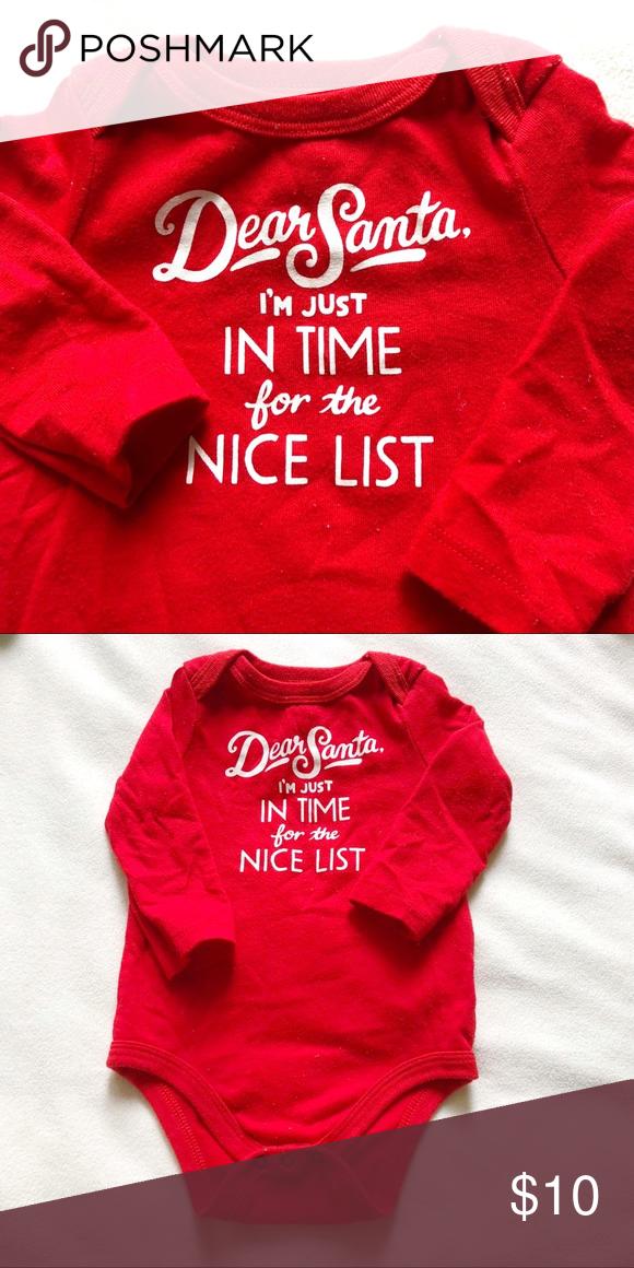 8458ad15fe2 6-9m Boy Girl Dear Santa Christmas Holiday Onesie Dear Santa red long sleeve