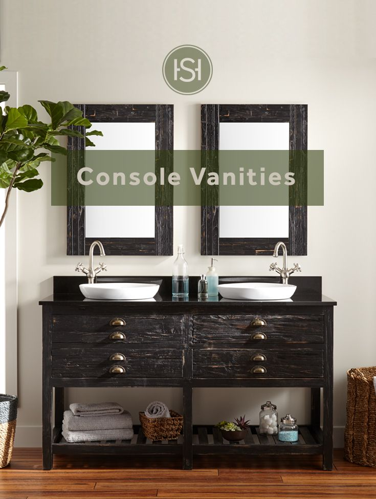 Featuring an open shelf console vanities allow for decorative
