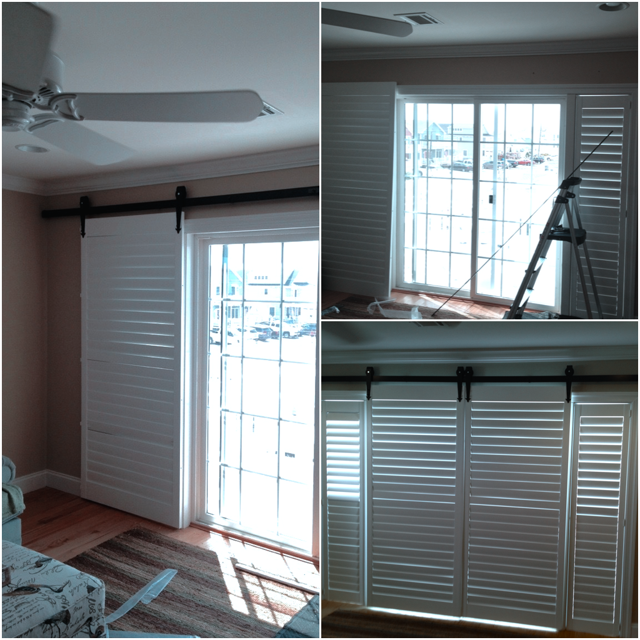A Before & After Shot Of Plantation Shutters With Custom Barn Door Hardware