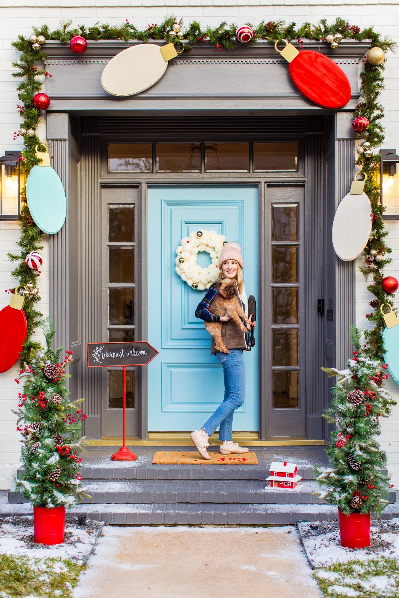 Welcome Home To The Cutest Holiday Front Door Jumbo Lights Outdoor Diy Christmas Decorations By Top Houston Lifestyle Blogger Ashley Rose Of Sugar Cloth