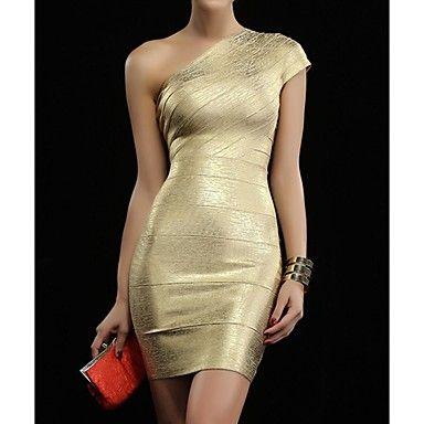 De las mujeres atractivas calientes de lujo del oro del Uno-hombro del vendaje mini vestido de noche – USD $ 77.99