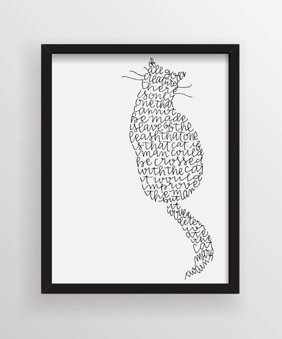 Cat Stock Quote Custom Mark Twain Cat Quote Illustrationmanayunkcalligraphy On Etsy . Design Ideas