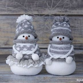 176 Knitting Pattern - Santa and Snowman Christmas Pillow cases ... | 290x290