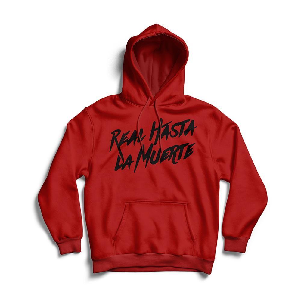 Real Hasta La Muerte Hoodie Red Black Anuelmerch Red Hoodie Hoodies Unisex Hoodies