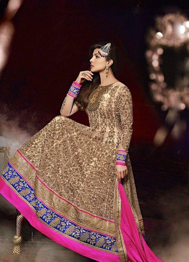 Priyanka Pink and Cream Anarkali