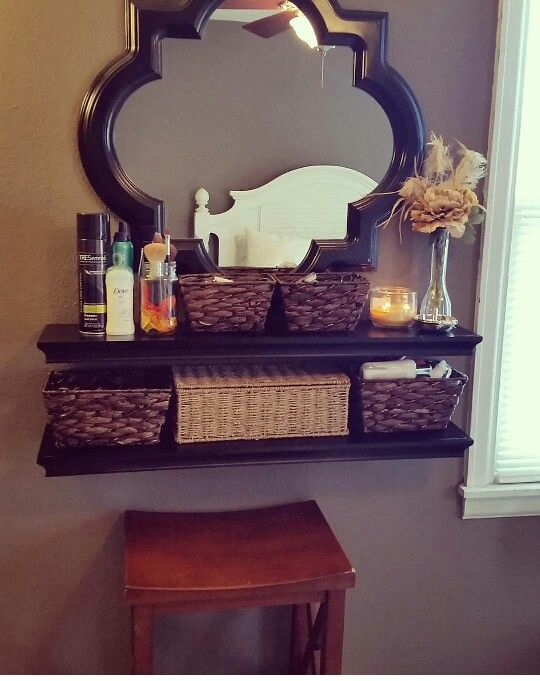 DIY makeup vanity out of wall mounted shelves | Ideas for my ...