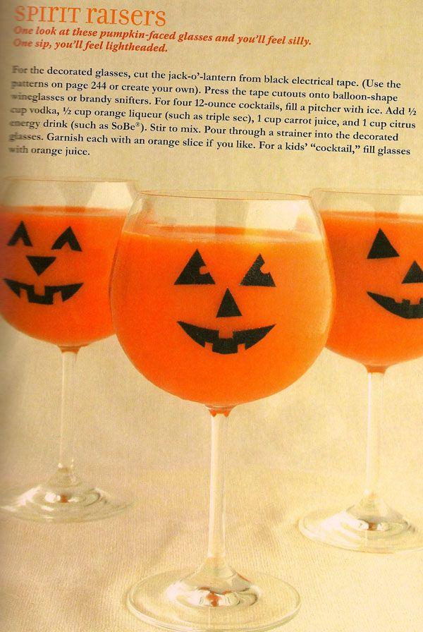Halloween adult drink treat, vodka, triple sec, carrot juice, energy drink.