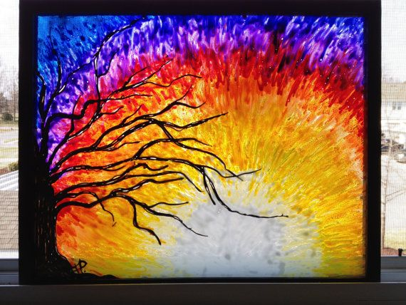 Tree At Sunset Glass Painting Has A Stained By Sparkysglassart 120 00 Sunset Painting Glass Painting Painting