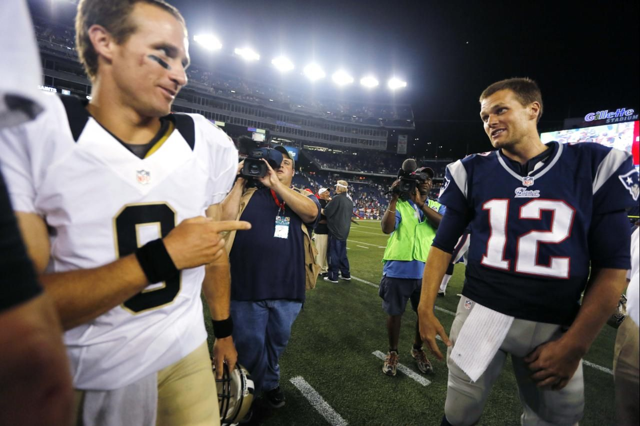 New Orleans Saints Quarterback Drew Brees 9 Points At New England Patriots Quarterback Tom Brady 12 After The Pat Nfl Preseason New Orleans Saints Red Zone