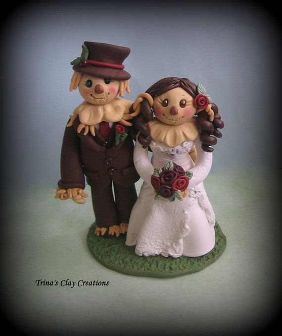 wedding cake topper custom wedding topper scarecrow wedding cake topper bride and groom personalized polymer clay keepsake