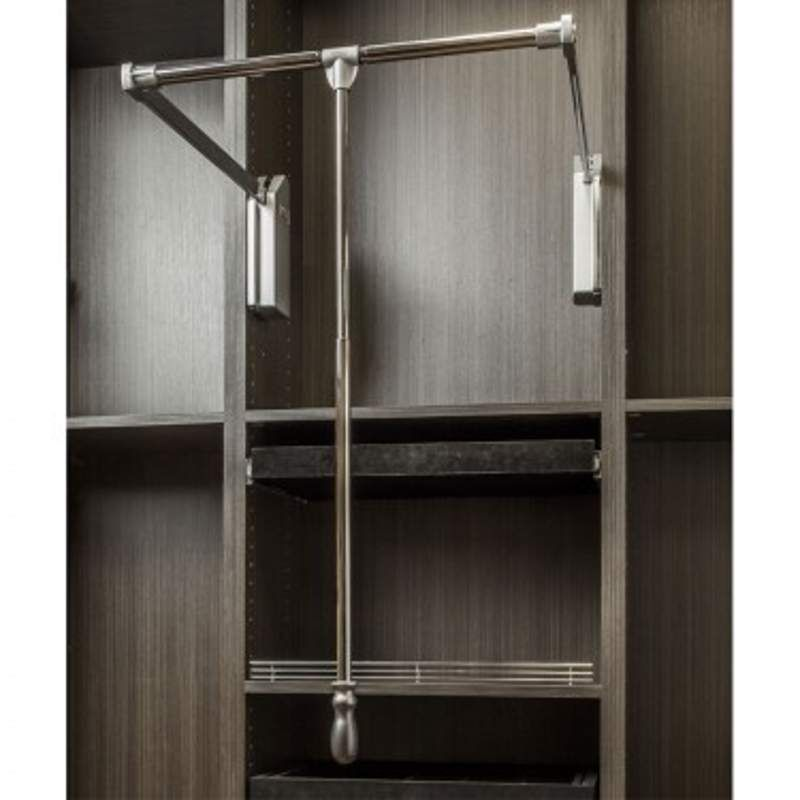 Hardware Resources 1532SC 32 Inch Wide Pull Down Closet Rod With Soft Close  Polished Chrome Closet