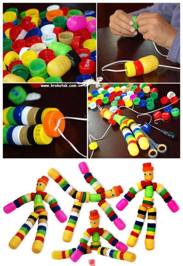 Aus Flaschendeckeln Werden Kleine Figuren Kids Pinterest