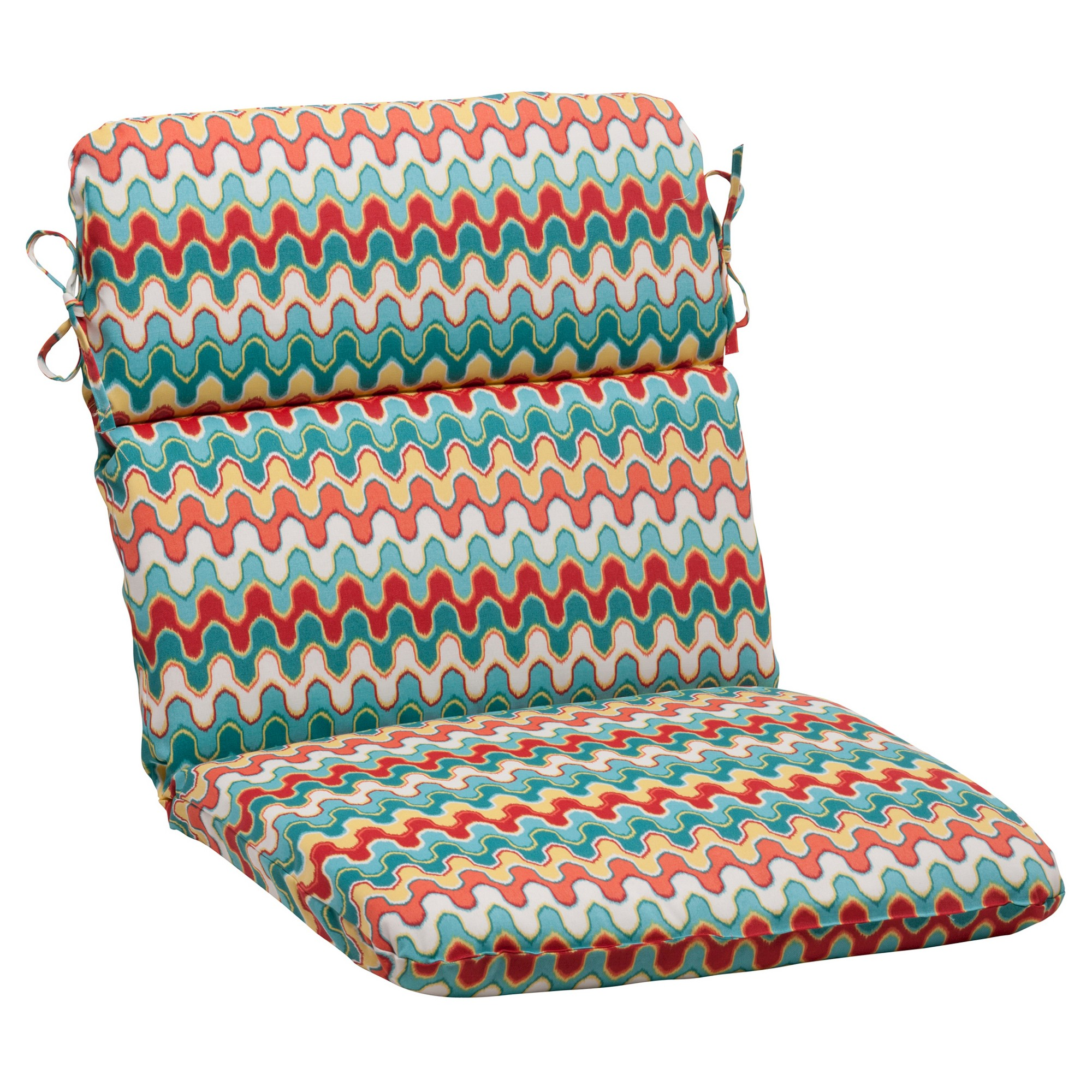 Outdoor Rounded Chair Cushion   Red/Turquoise Chevron