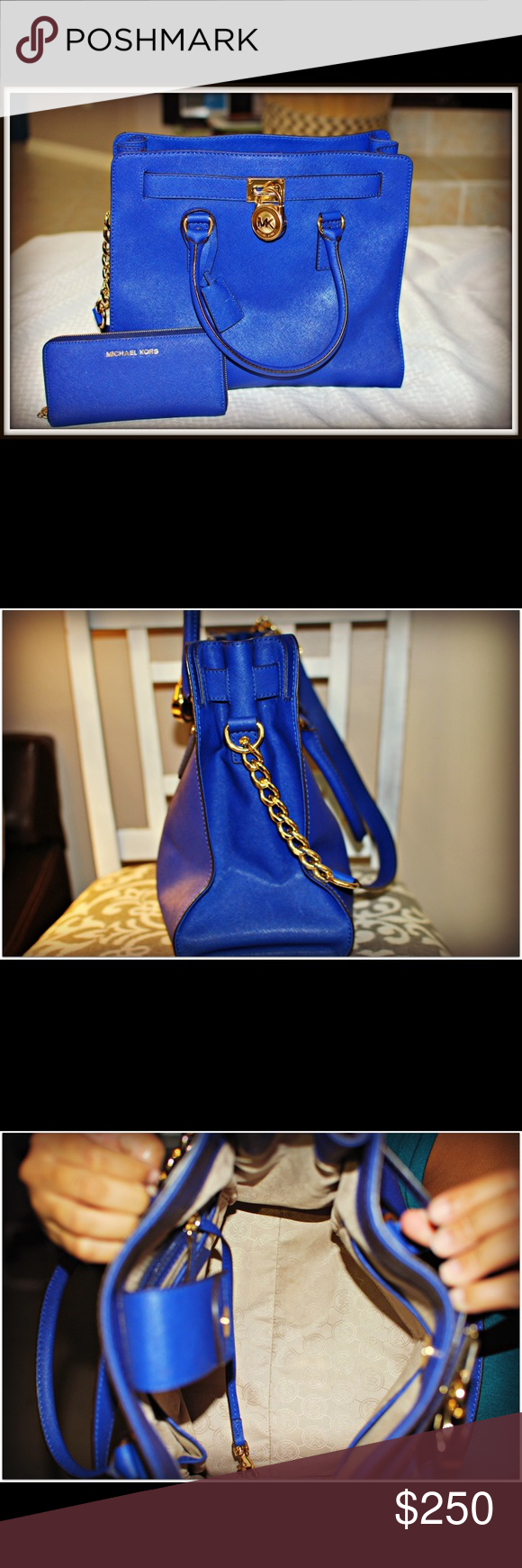 Michael Kors Hamilton Tote Michael Kors Hamilton Tote, Saffiiano Leather in Electric Blue color, gold hardware, magnetic clip top. Gently used with no flaws, in great condition. Wallet can be bundled. Feel free to ask me questions!! Michael Kors Bags Totes