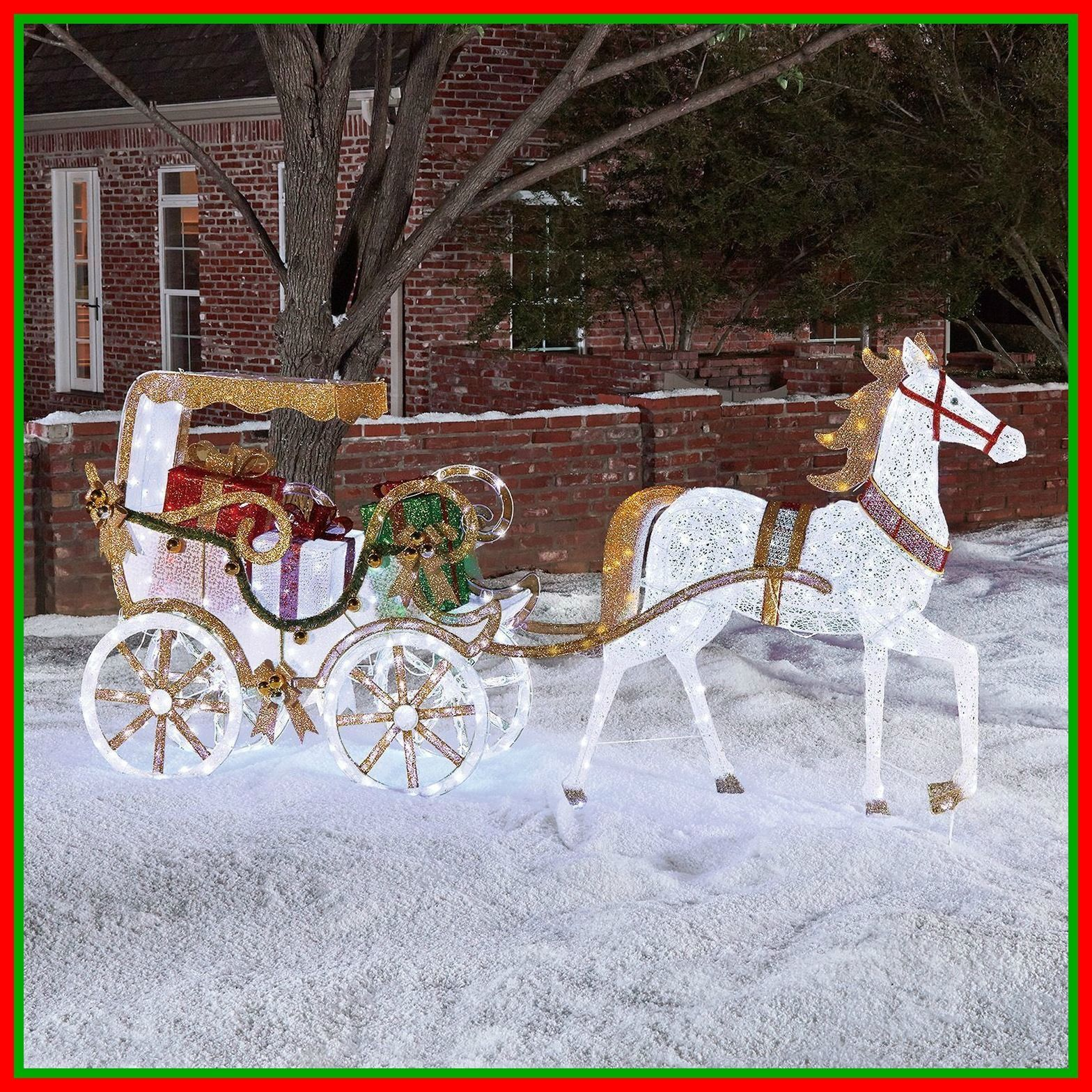 Pre lit lighted christmas horse carriage holiday outdoor for Pre lit outdoor decorations