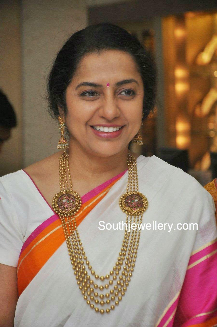 Suhasini in gundla haram jewellery designs - Suhasini In Gundla Haram