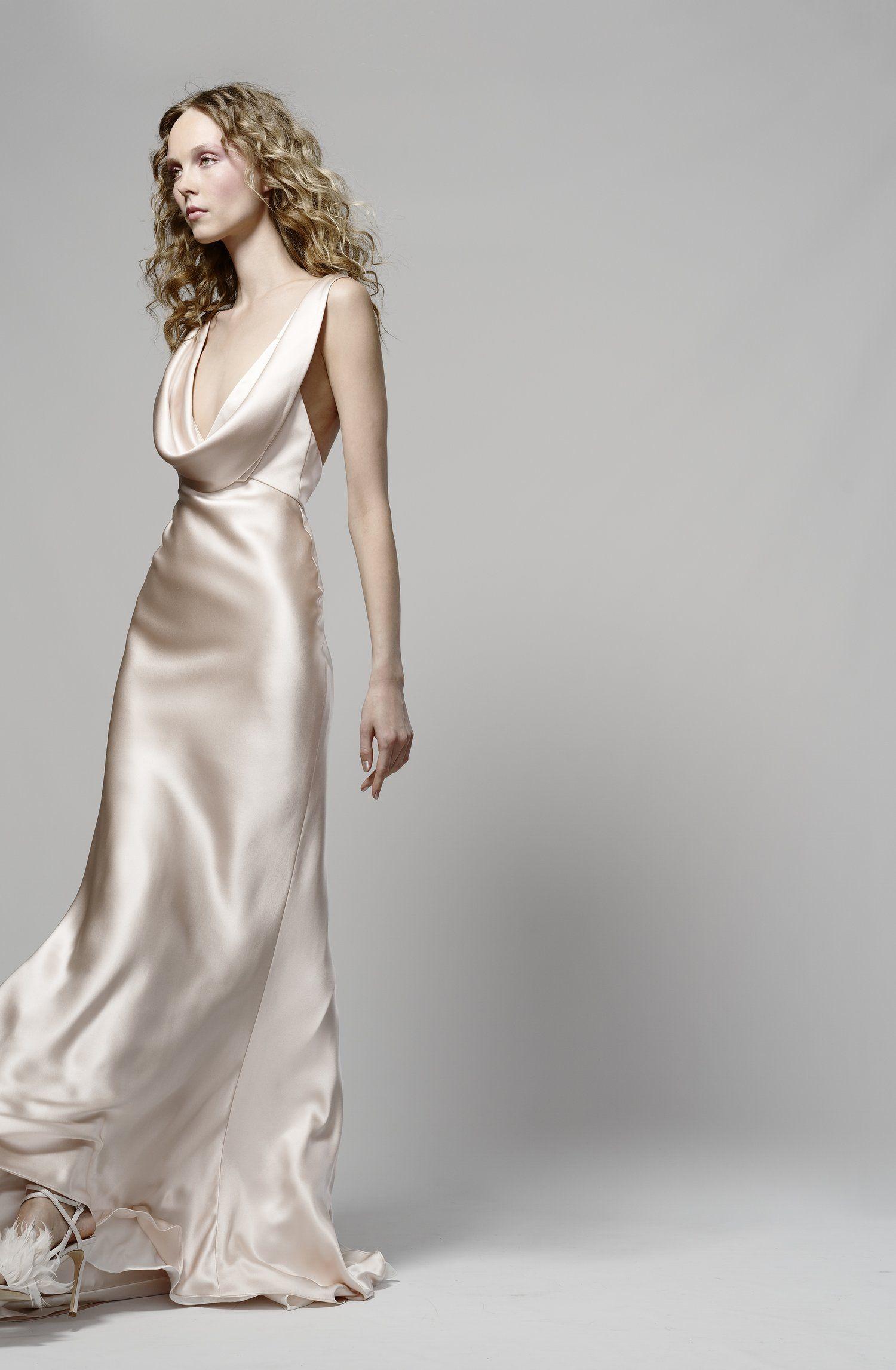 98ce6b44 Sheath elizabeth fillmore gown, cowl neckline, silk wedding dress ...