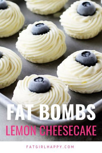 Lemon Cheesecake Keto Fat Bombs Living the Keto life gets a lot easier when you have a sweet treat every now and then. This sugar-free, low-carb, creamy frozen dessert treat is the best at fighting those cravings. Made with freshly-squeezed lemon juice, cream cheese, coconut oil and more, these tangy-sweet keto fat bombs help you get in all of your daily fat grams, too. #keto #ketofatbombs #fatbombs #cheesecakefatbombs #lowcarbeating