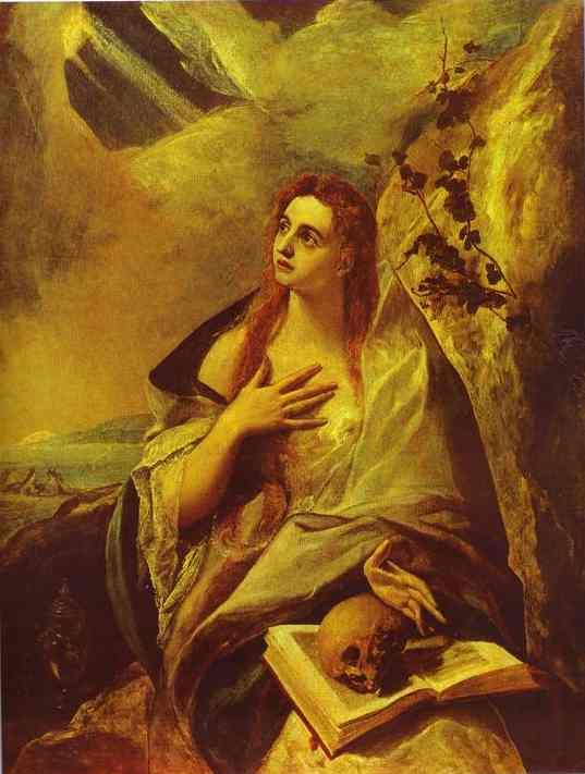 Mary Magdalene By El Greco Note Book And Skull Her Symbols