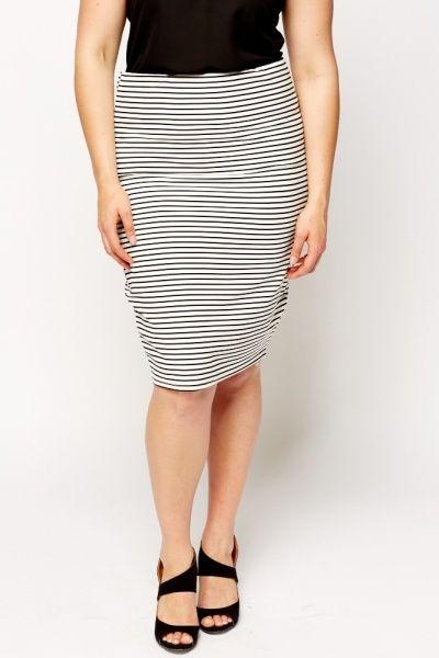White Striped Midi Skirt