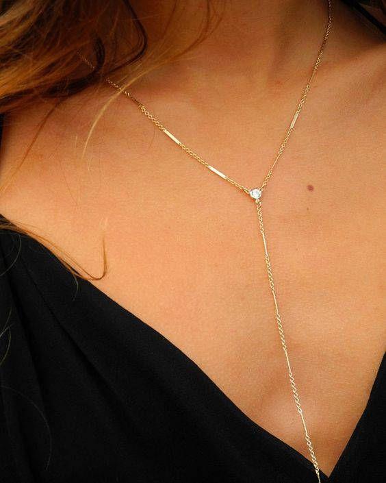 CZ Lariat, Y Shape Necklace, Dainty Y Drop Necklace, Gold Filled Delicate Y Necklace