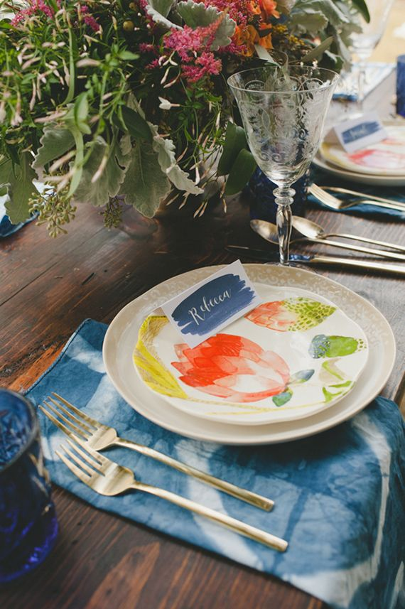 Indigo dyed wedding inspiration | Photo by Spindle Photography | Read more - http://www.100layercake.com/blog/?p=71903
